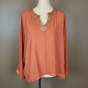 Umgee Pumpkin Caftan Blouse with Sequins Size L